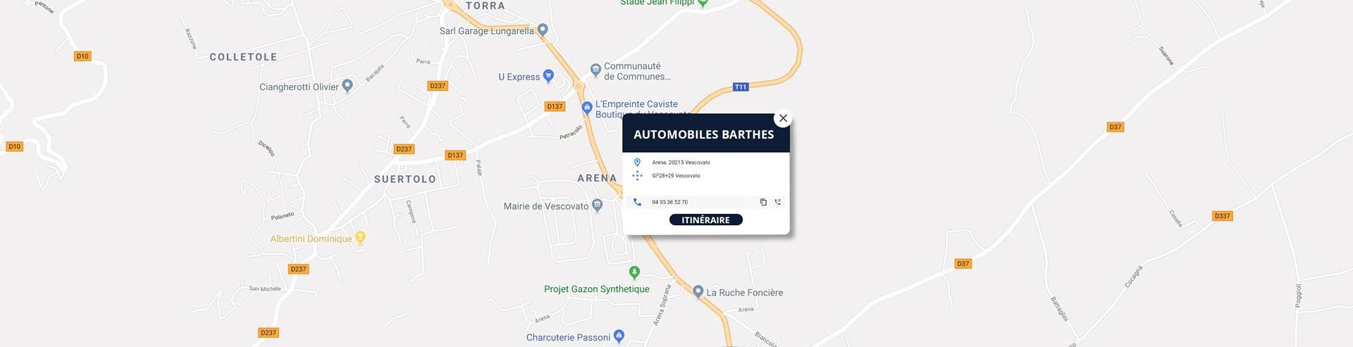 Garage Barthès à Vescovato, itinéraire via Google Maps
